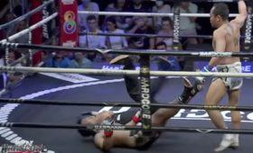 Судья упал плашмя вместе сотправленным внокаут боксером