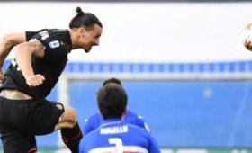 Дубль Ибрагимовича помог «Милану» разгромить «Сампдорию» вСерии А